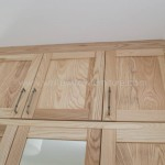 Solid Ash Three Door Wardrobe with Top Box Doors Close up