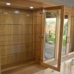 Oak Display Cabinet with Glass Shelving and Lighting