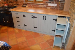 Bespoke Kitchen made of solid hardwood. Spray painted finished to any colour.