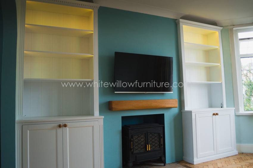 lounge alcove cupboards and shelving white willow furniture. Black Bedroom Furniture Sets. Home Design Ideas