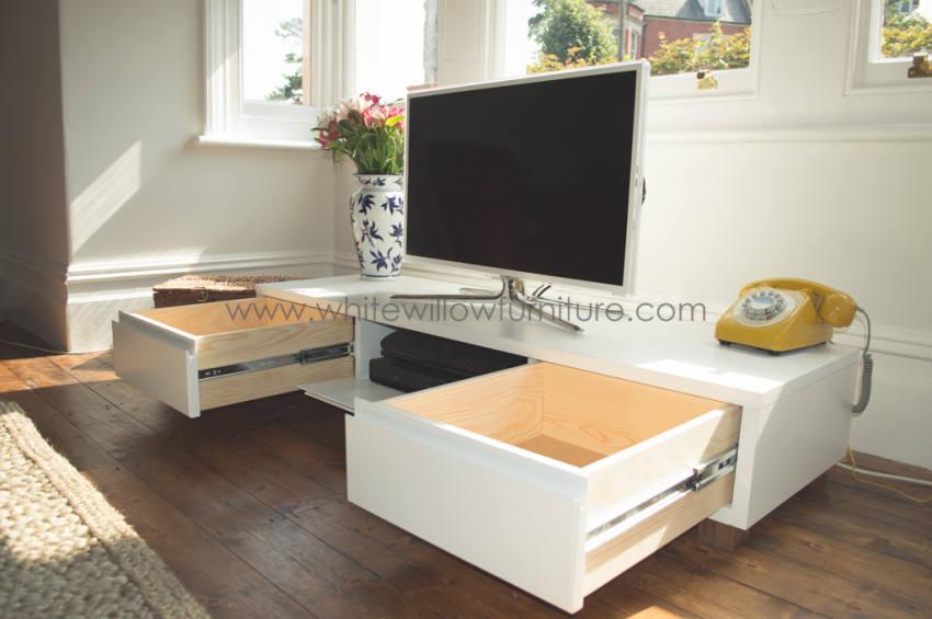 Elegant Bespoke TV Unit White Willow Furniture